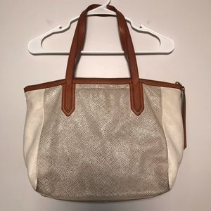 Fossil Cow Hide Leather Large Sydney Tote Metallic